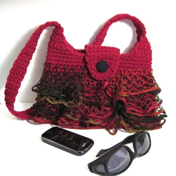 Red Ruffle Skirt Purse Fishnet Crochet Christmas Gift