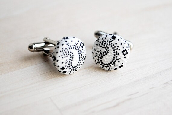 Paisley Cuff Links, Gift for Men, Guys, Nickel Free, UK Seller