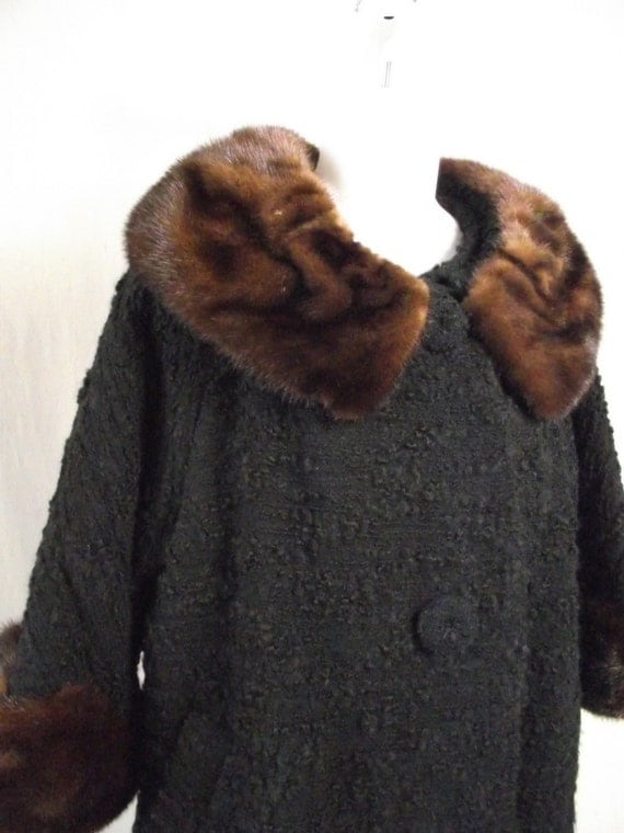 1960s Winter Swing Coat Black Boucle Wool with Fur Cuffs and Collar Medium Large