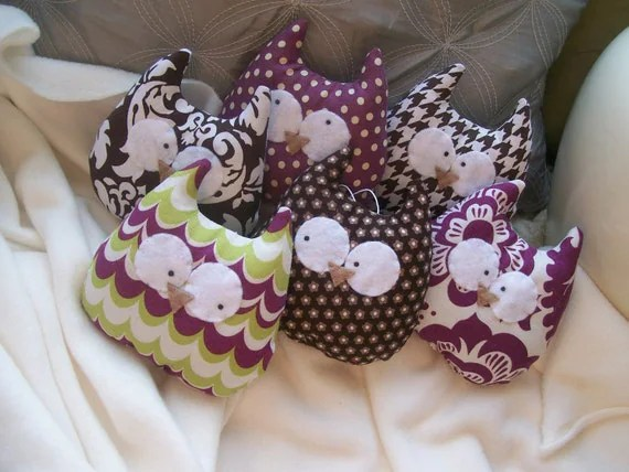 Set of 6 Owl Ornaments or Plushies - Chocolate and Purple