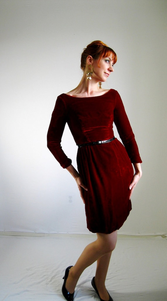 Sale-1960s Deep Red Velvet Dress Mad Men Office Holiday Cocktail Party Winter Fashion