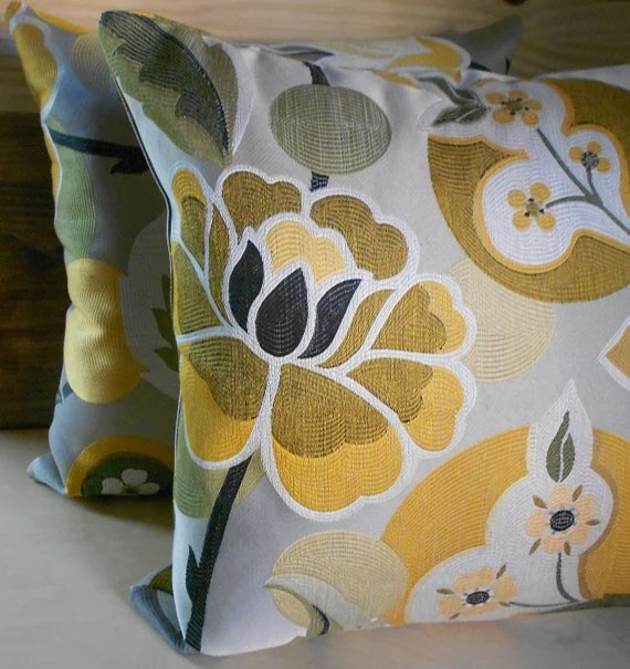 Decorative pillows, Pair of Multi-color gold, yellow, gray  floral medallion decorative pillow covers