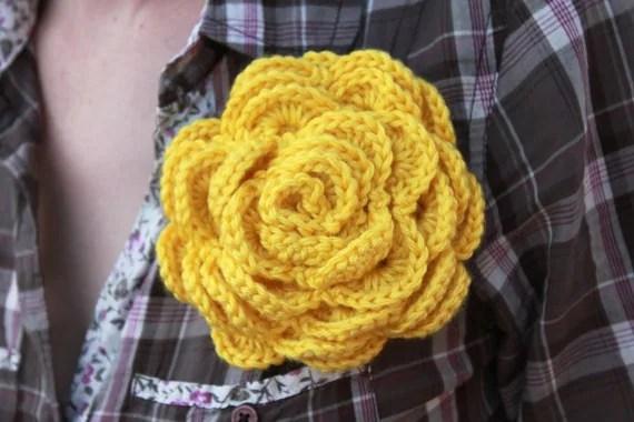 Large Crochet Rose Pin / Crochet Flower Pin / Crochet Brooch