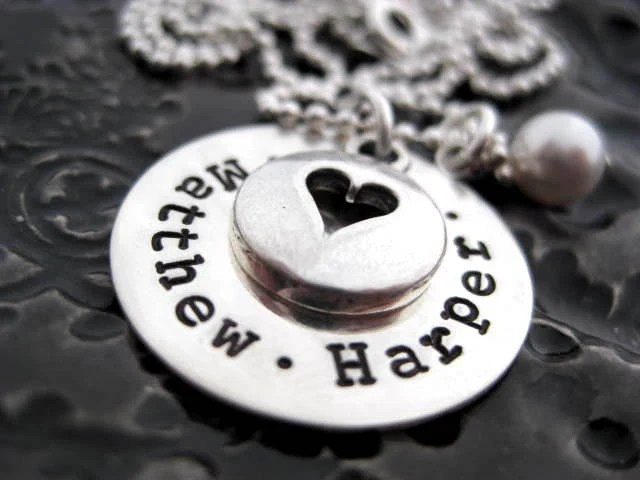 Hand Stamped Mommy Jewelry - Personalized Sterling Silver Necklace - Open Your Heart