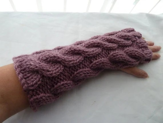 chunky cable hand warmers mulberry uk seller