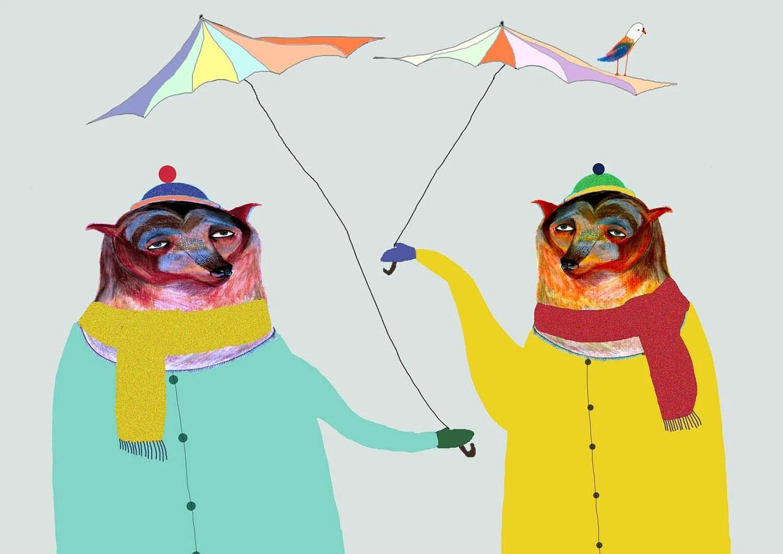Nursery Art, Nursery Decor. Bears in the Rain. Limited edition Art print by Ashley Percival.
