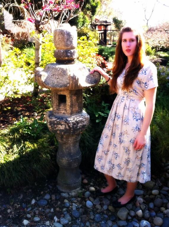 Short Sleeved Tan Floral Dress