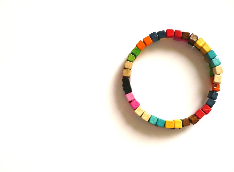Colorful beaded bracelet /  Wooden bracelet / Hipster bangle