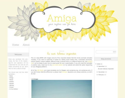 Blogger - Premade Blog Template - Amiga - Customization and Installation included
