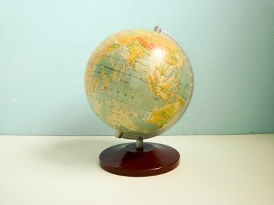 Vintage 50s World Globe 6 inches Paper Map Brown Base