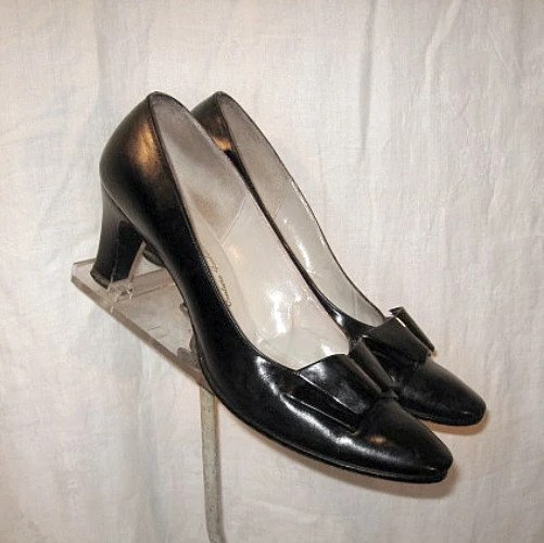 70s vintage pumps bow high heels 80s 50s