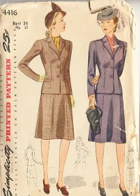 Vintage 40s 1940s Simplicity Suit Sewing Pattern Bust 34 - unused