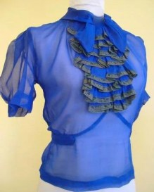 Amazing Vintage 1930s Electric Blue Silk Chiffon Blouse with Ruffle