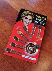 Vintage 1950s 'Venus Star' Double Pine Hair Clip on Card - Unused