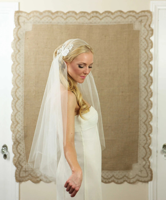 NEW 34 Inch Rosa Lace Bridal Cap Wedding Veil