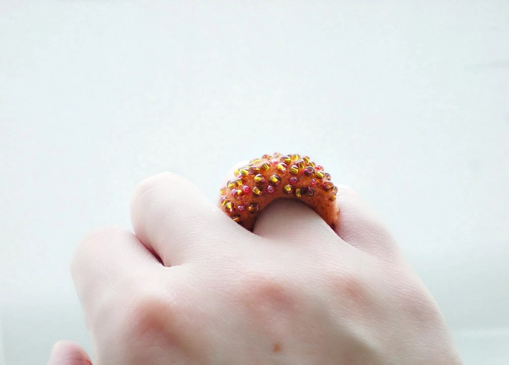 Orange and Amber Felt Ring - Needle Felted Ring with Amber Glass Beads