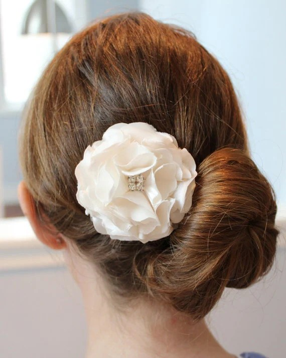 Ivory Silk Satin Peony Hair Flower with Crystal Center