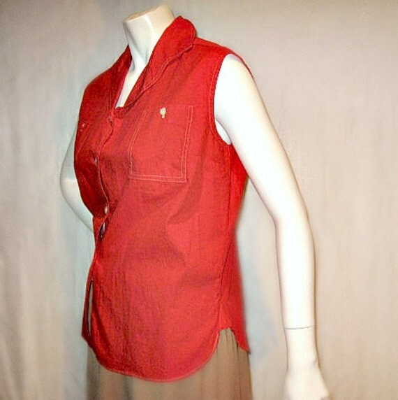 summer red vintage 50s blouse large plus sleeveless cotton cool fitted