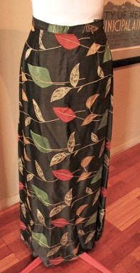 Vintage Late 1940s Black Satin Brocade 'Autumnal' skirt