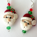 Santa earrings, polymer clay Christmas