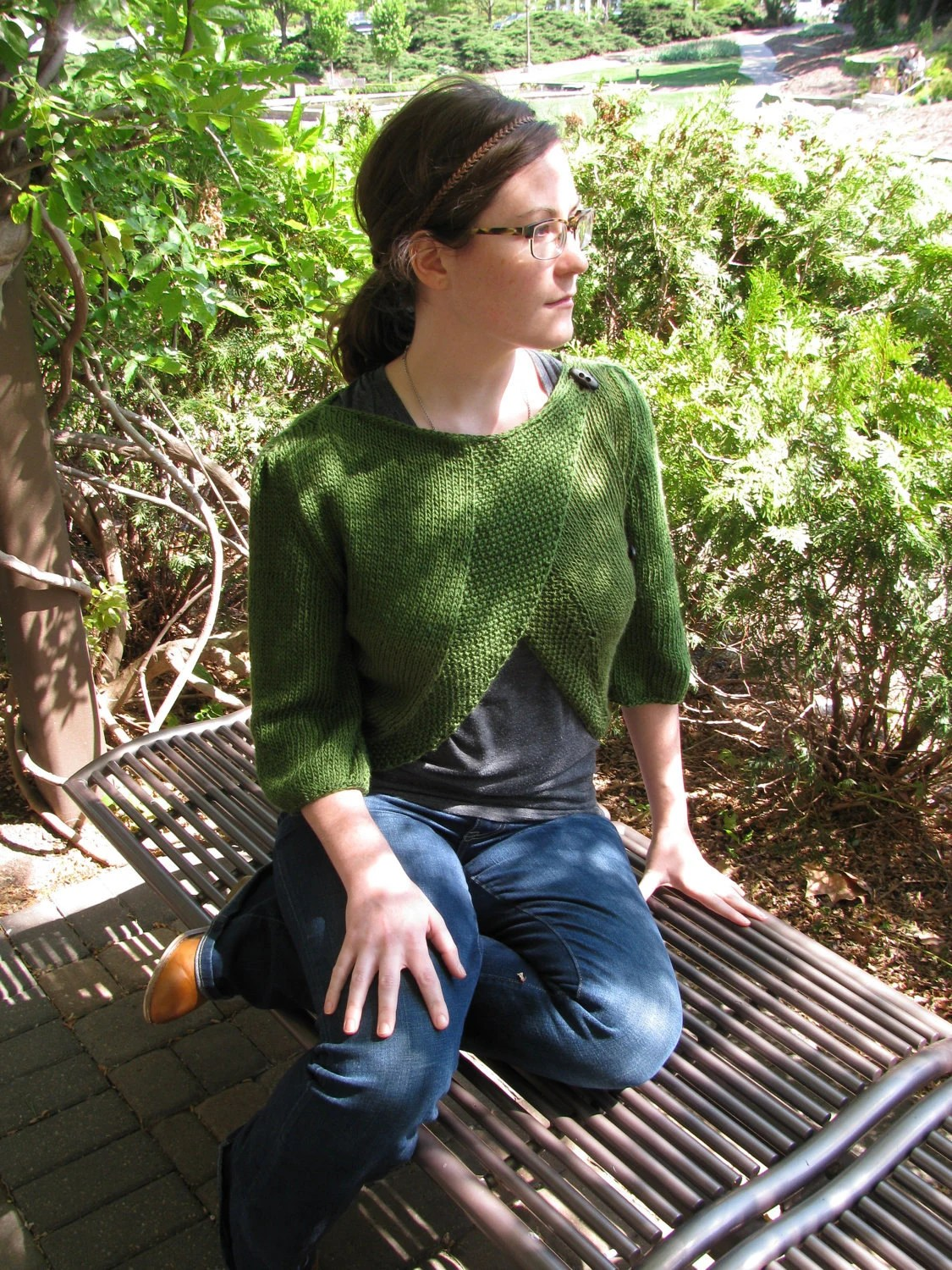 Convertible Leaf Lace Cardi--in mossy green bamboo