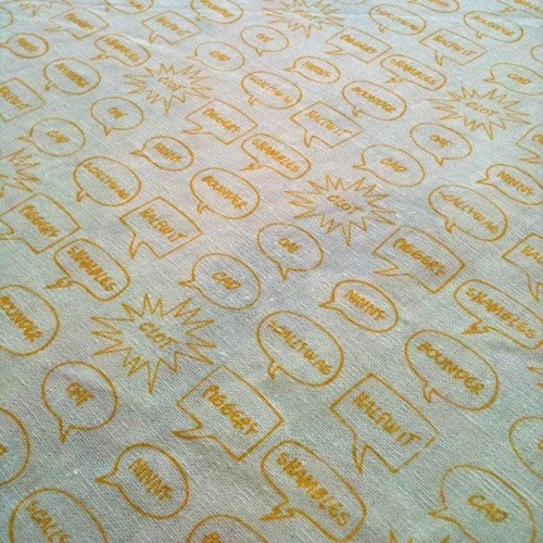 English Insults Fabric - Sarah Waterhouse Hand Printed Textiles