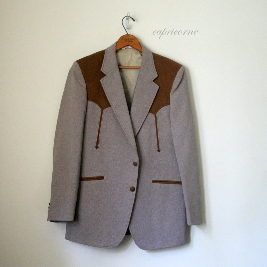 1970's COUNTRY WESTERN mens 2 pc jacket vest