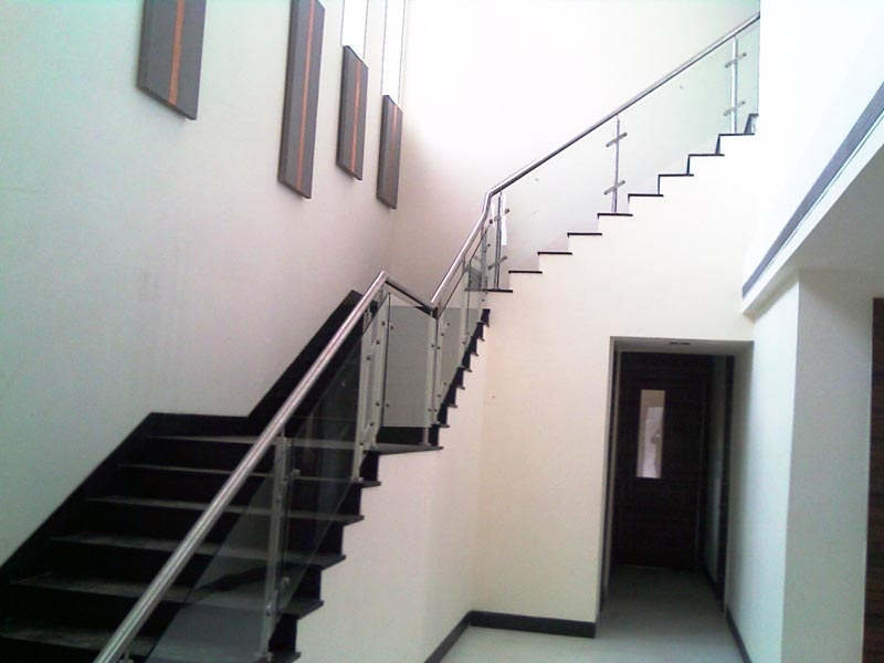 Glass Indian Duplex House Staircase Designs | Stairs Railing Design In Glass | Indoor Home Depot | Fancy | Painting | Modern | Interior Residential Metal