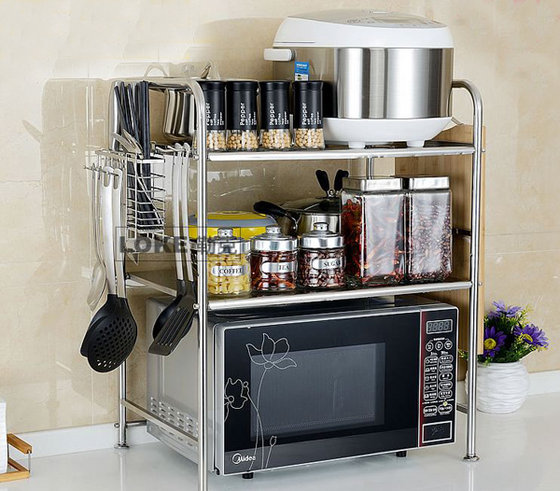 stainless steel kitchen 3 layer microwave oven stand