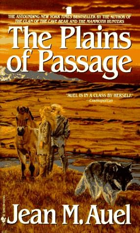 book cover of<br /><br /><br /><br /><br /><br /><br /> The Plains of Passage<br /><br /><br /><br /><br /><br /><br /> (Earth's Children, book 4)<br /><br /><br /><br /><br /><br /><br /> by<br /><br /><br /><br /><br /><br /><br /> Jean Marie Auel
