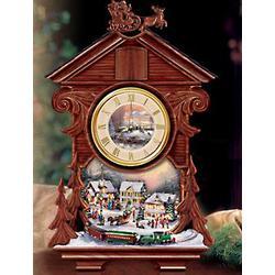 Thomas Kinkade Christmas Tabletop Cuckoo Clock With Moving