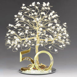 Gold 50th Anniversary Tree Cake Topper
