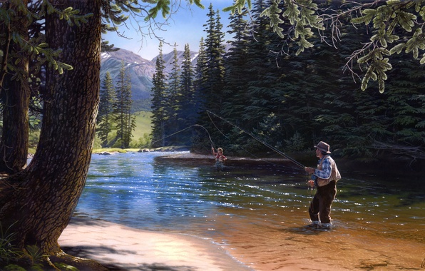 Wallpaper nature, river, fishing, spruce, painting, tree ...