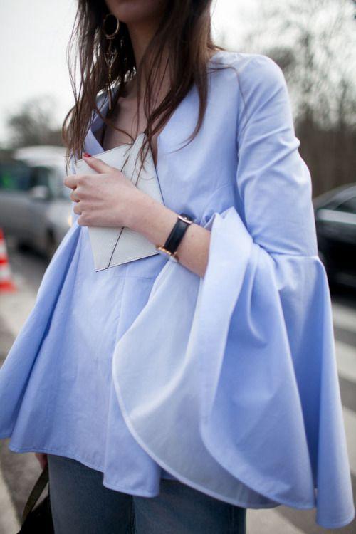 今天穿什么:甩著大袖子出門?喇叭袖幫你扮時髦!_時尚_騰訊網