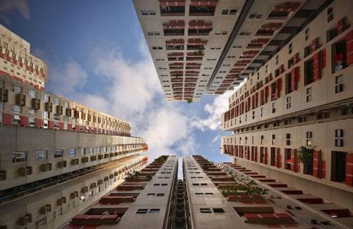 """组图:法国摄影师仰拍香港""""楼房森林"""""""