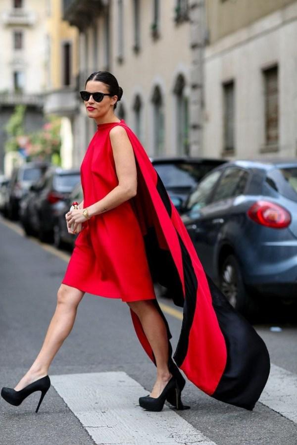 Что надеть на Новый год 2016: красное платье street style ...