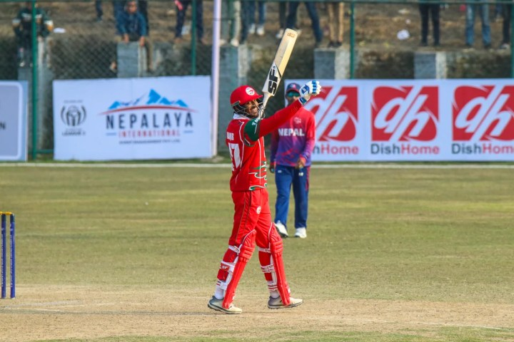 Aqib Ilyas celebrates after becoming the first Oman player to score an ODI century, Nepal v Oman, ICC Cricket World Cup League Two tri-series, Kirtipur, February 8, 2020