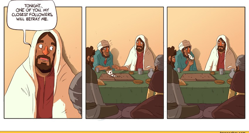 jesus joke about betrayal judas with pizza