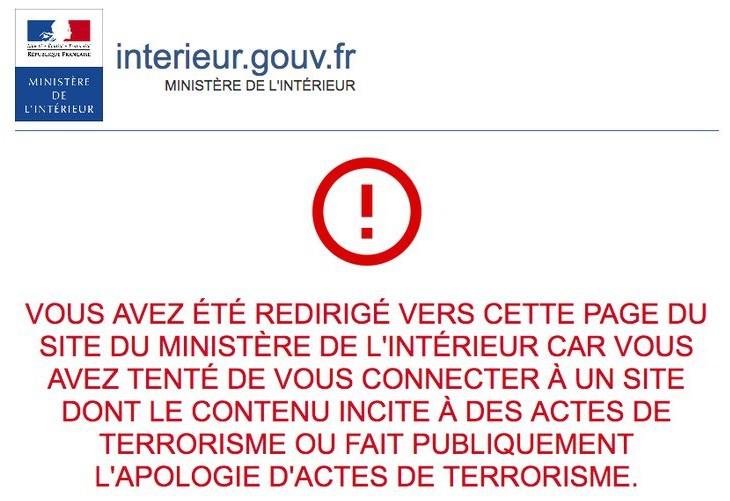 Capture d'écran site de redirection du ministère de l'interieur.