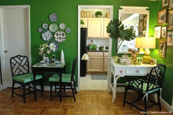 Красивые интерьеры. Изумрудно-зеленый цвет в интерьере ...