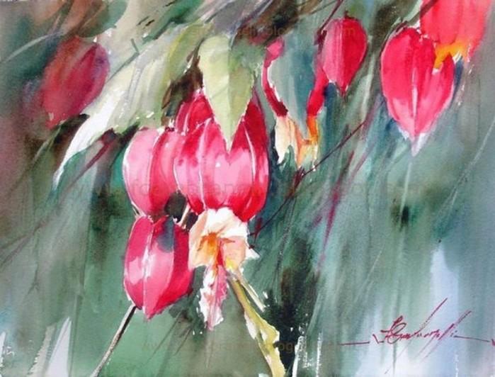 Бразильский художник Фабио Сембранелли. Акварельные цветы