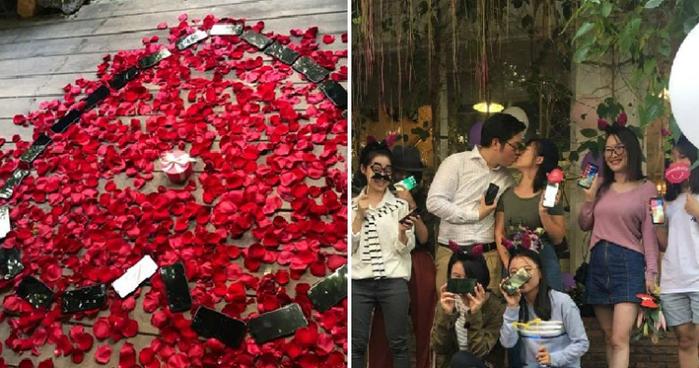 Китаец выложил 25 iPhone X в форме сердца и сделал предложение своей девушке