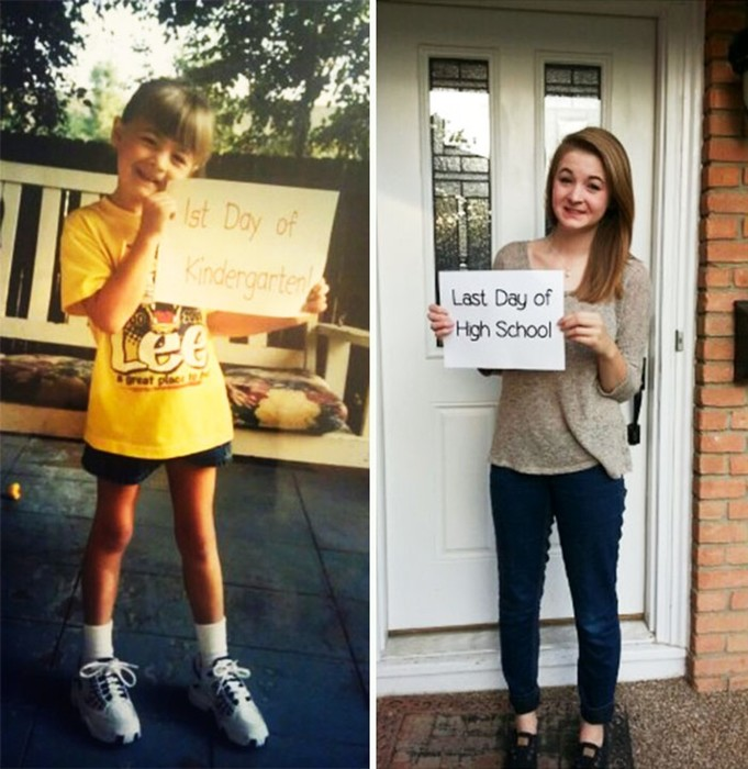Забавные фотографии— Дети в свой первый и последний день школы