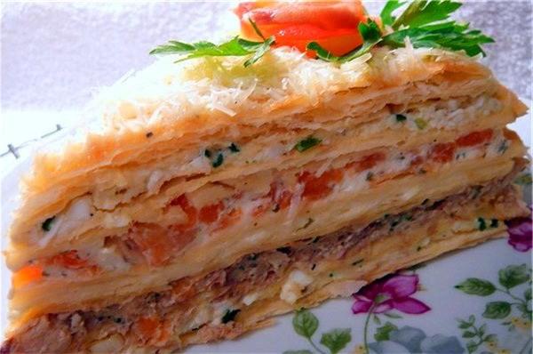 Рыбный торт «Наполеон»— украшение праздничного стола!