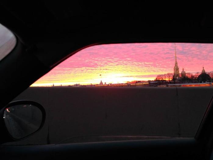 Петербургский огненный закат на красивых фотографиях