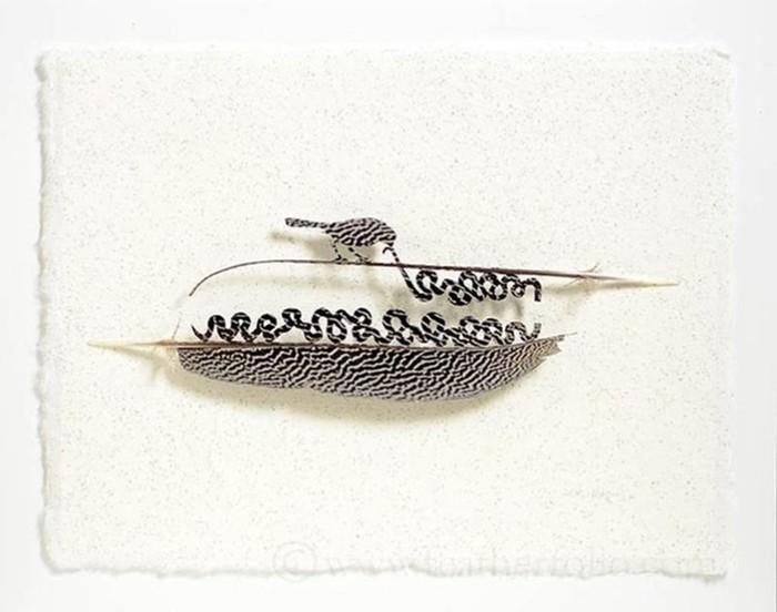 Скульптуры из птичьих перьев!