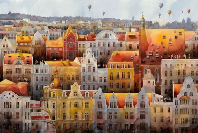 Варшава 19 го века, воскресшая на акварелях современного польского художника