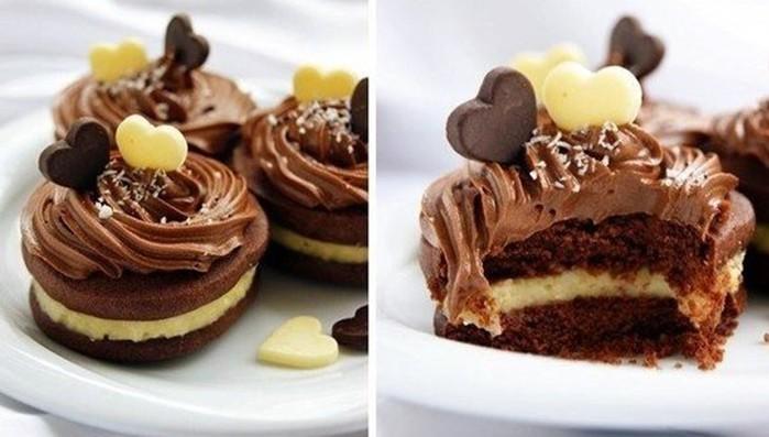 Шоколадное печенье с кокосовым кремом дома
