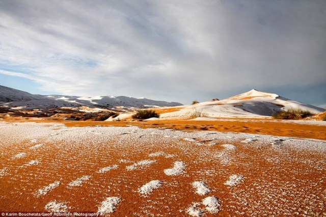 Зимнее чудо! В пустыне Сахара снова выпал снег