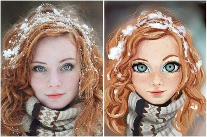 Художник превращает фотографии случайных людей в очаровательных мультяшек
